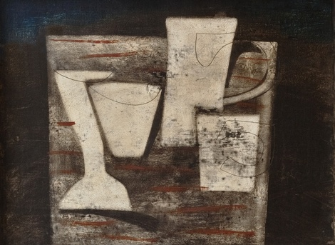 <span class=&#34;artist&#34;><strong>Ben Nicholson</strong></span>, <span class=&#34;title&#34;><em>May 1955 (Carved Forms and Indigo)</em>, 1955</span>