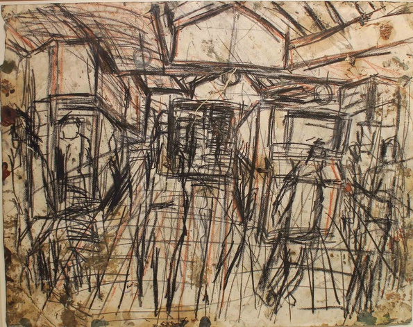 <span class=&#34;artist&#34;><strong>Leon Kossoff</strong></span>, <span class=&#34;title&#34;><em>The Booking Hall</em>, c.1976</span>