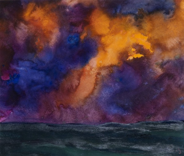 Herbert Beck, Landscape with Purple Clouds, c. 1990