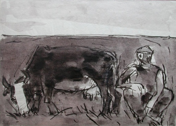 Josef Herman, Cow grazing and man, 1948