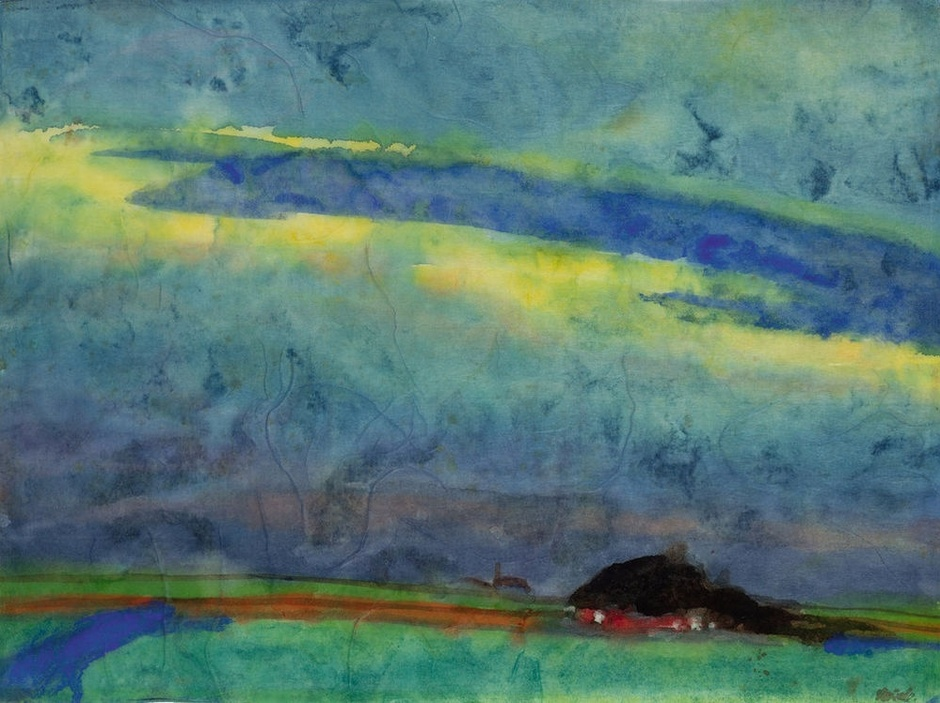 <span class=&#34;artist&#34;><strong>Emil Nolde</strong></span>, <span class=&#34;title&#34;><em>Marshland With Farm</em>, c.1945</span>