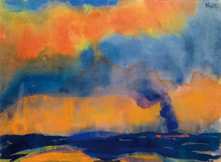 <span class=&#34;artist&#34;><strong>Emil Nolde</strong></span>, <span class=&#34;title&#34;><em>Sea with Smoking Steamer</em>, c.1946</span>
