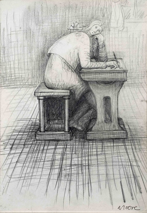 <span class=&#34;artist&#34;><strong>Henry Moore</strong></span>, <span class=&#34;title&#34;><em>Girl doing homework</em>, 1972</span>