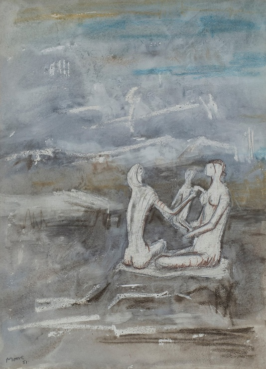 "<span class=""artist""><strong>Henry Moore</strong></span>, <span class=""title""><em>Two women and a child on a beach</em>, 1951</span>"